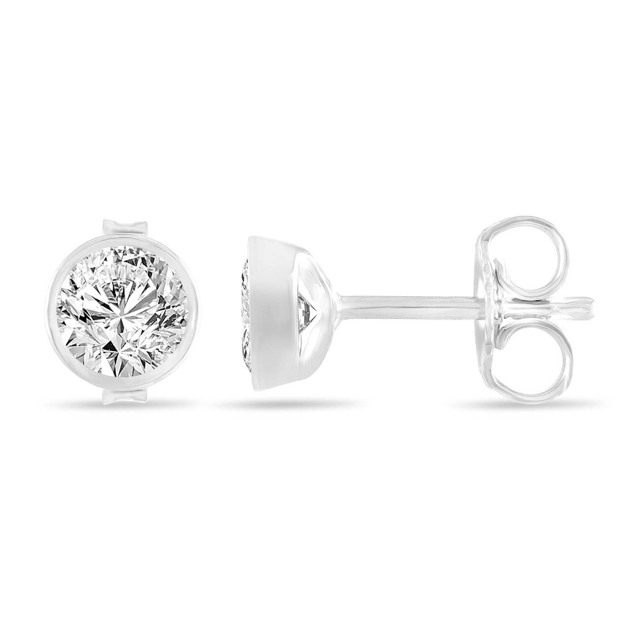 gold set bezel diamonds earrings with cut white diamond sku round stud
