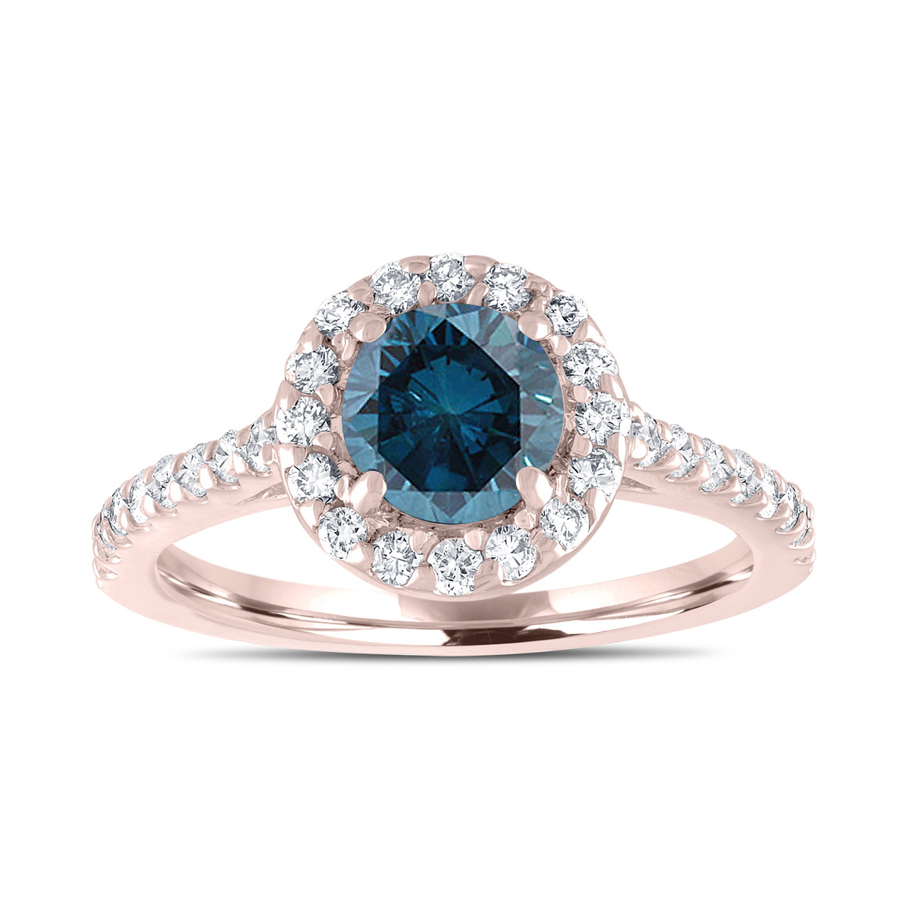 14k rose gold blue diamond engagement ring fancy wedding. Black Bedroom Furniture Sets. Home Design Ideas