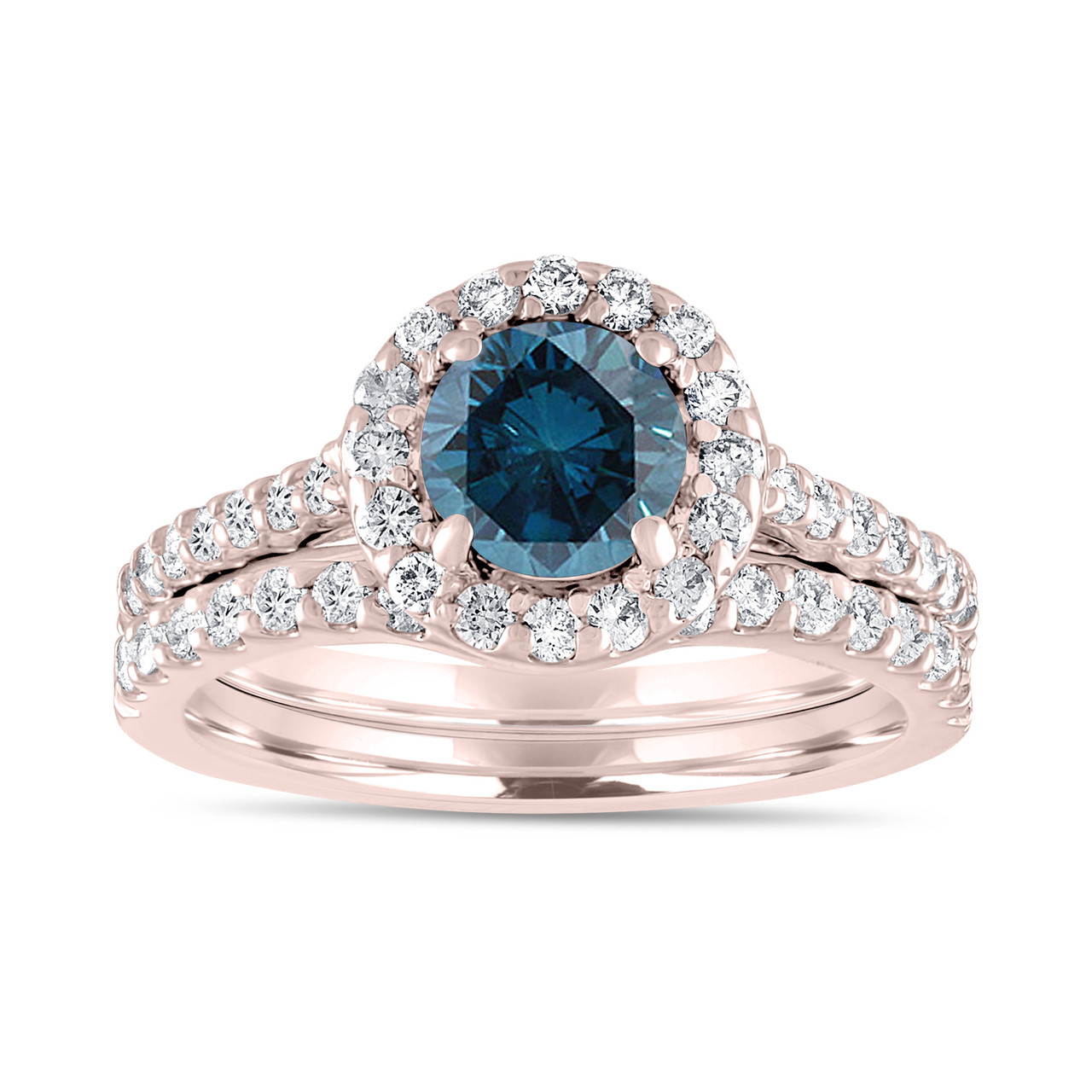 Image result for 1.84 Carat Fancy Blue Diamond Engagement Ring Set, Bridal Wedding Rings Set, 14K Rose Gold Unique Halo Pave Certified Handmade
