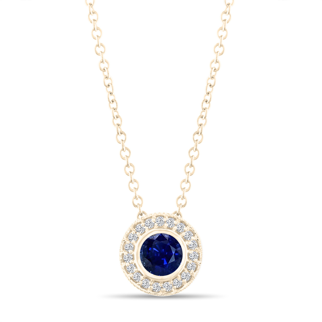 Gold blue sapphire pendant necklace with diamonds pendant 045 gold blue sapphire pendant necklace with diamonds pendant 045 carat halo bezel and micro pave set handmade aloadofball Image collections