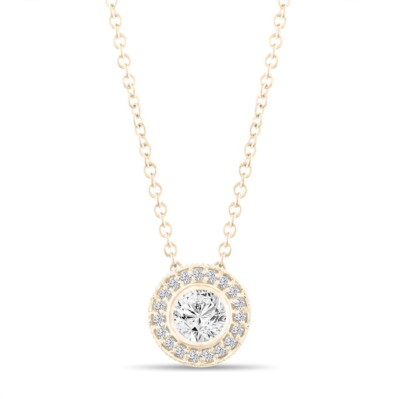 Micro pave diamond pendant necklace yellow gold pendant 042 carat micro pave diamond pendant necklace yellow gold pendant 042 carat bezel certified handmade aloadofball Images