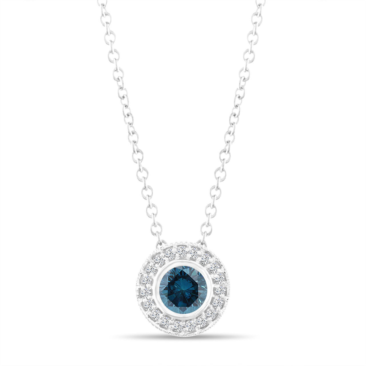 Fancy blue diamond pendant necklace 14k white gold 045 carat halo fancy blue diamond pendant necklace 14k white gold 045 carat halo bezel and micro pave set handmade aloadofball Image collections
