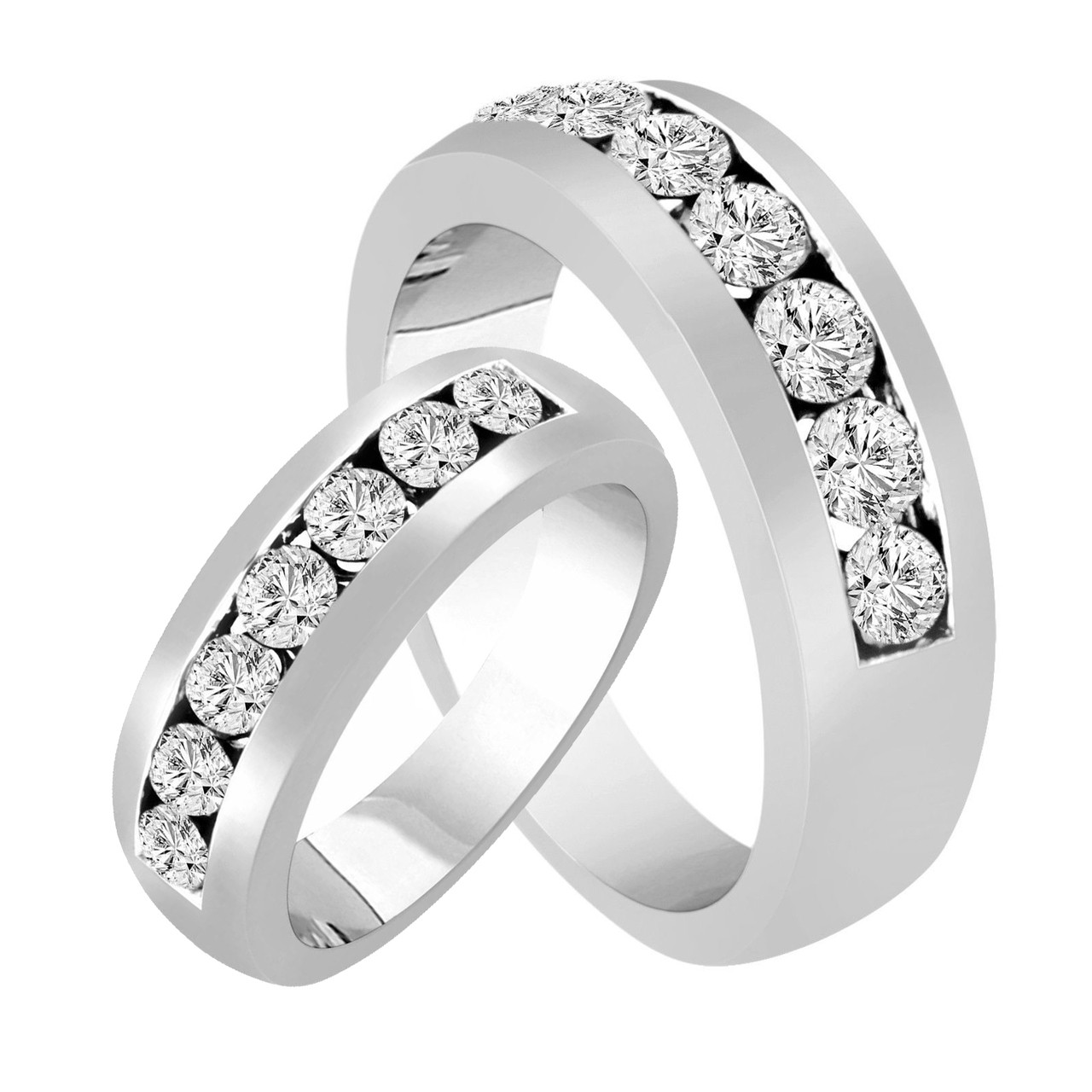 his hers wedding rings diamond matching bands couple wedding