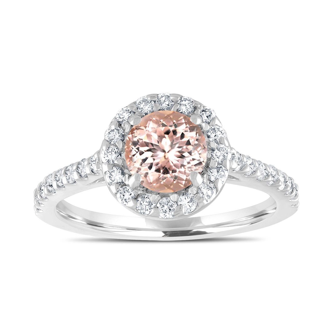 2 Band Diamond Wedding Engagement Proposal Set Ring: Platinum Morganite Engagement Ring, With Diamonds Bridal