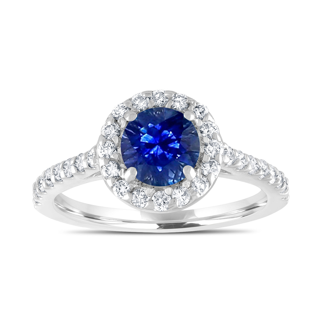sapphire engagement ring with diamonds bridal ring blue