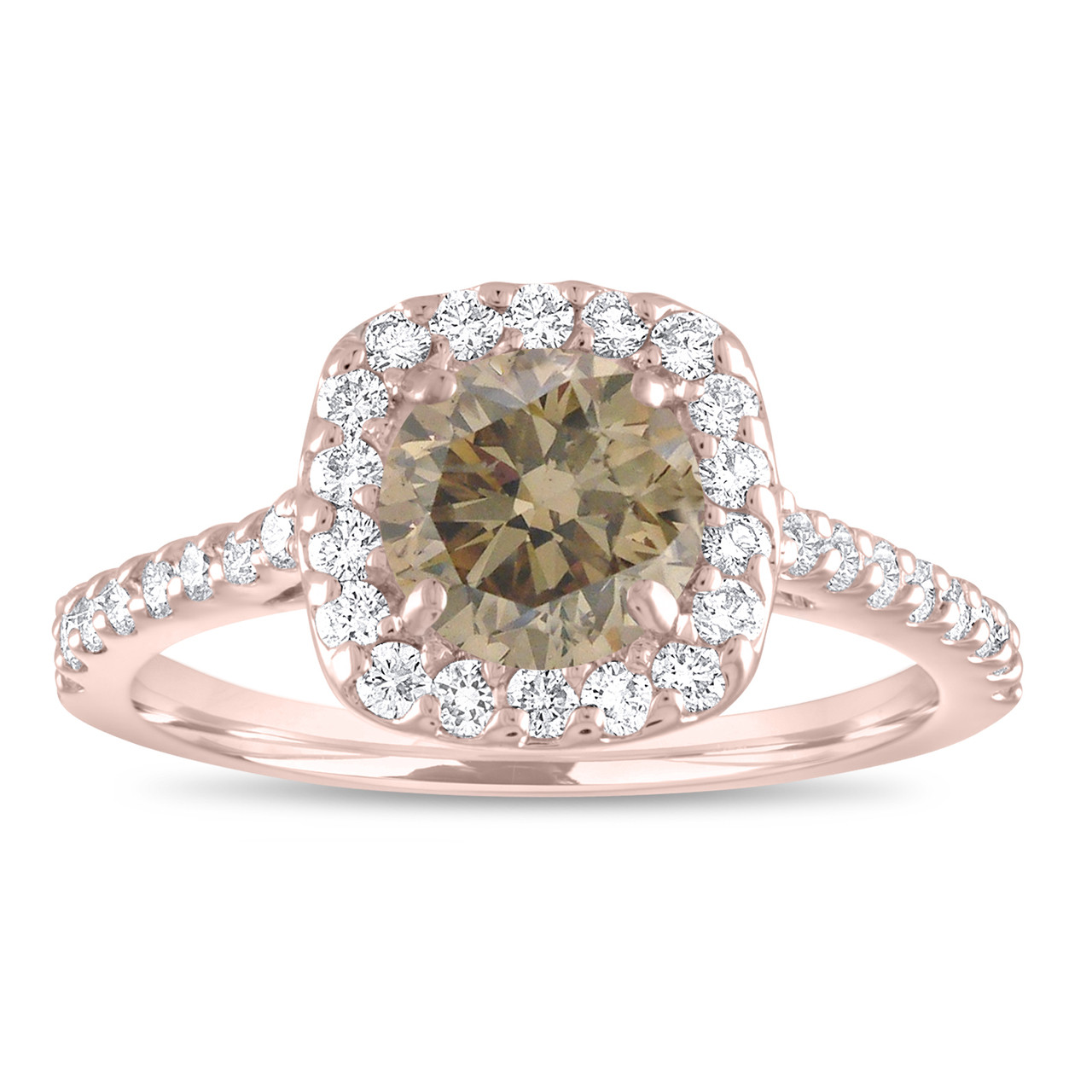 K Rose Gold Champagne Diamond Stud Earrings