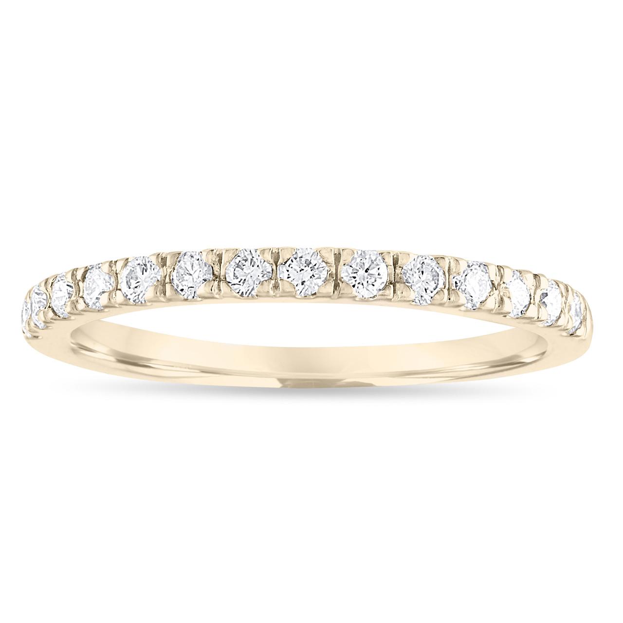 Gold Diamond Wedding Band Half Eternity Ring Yellow Anniversary Stackable F Vs2 0 28 Carat Handmade