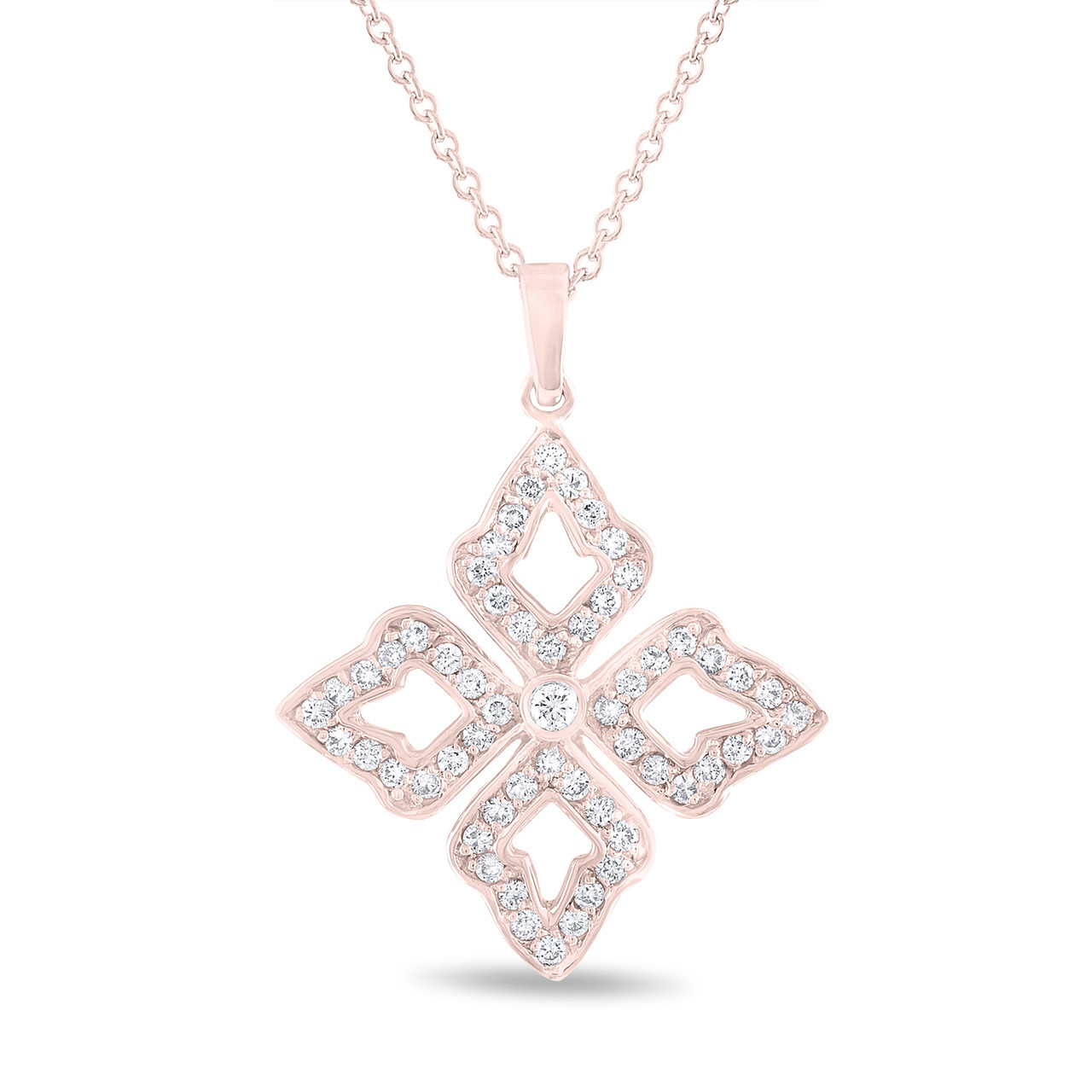 Diamond leaf pendant diamond flower pendant necklace unique diamond leaf pendant diamond flower pendant necklace unique pendant 14k rose gold 045 carat pave set handmade aloadofball Gallery