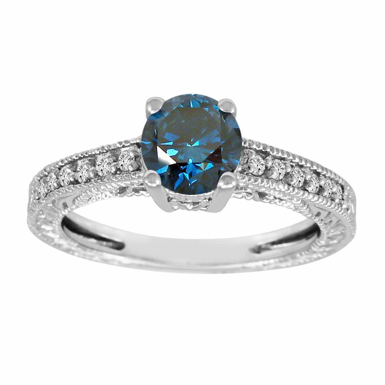 Blue Diamond Platinum: Platinum Engagement Ring, Blue Diamond Engagement Ring