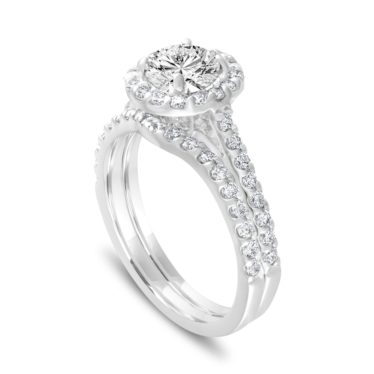 1.84 Carat Diamond Engagement Ring Set, Halo Bridal Ring