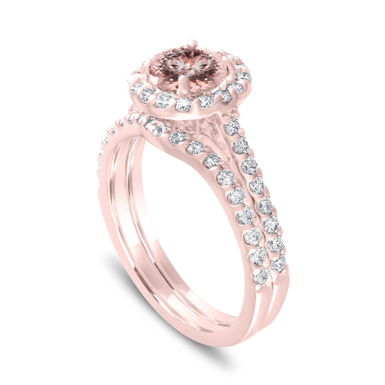 Morganite Engagement Ring Set Rose Gold, Bridal Ring Sets, Peach ...