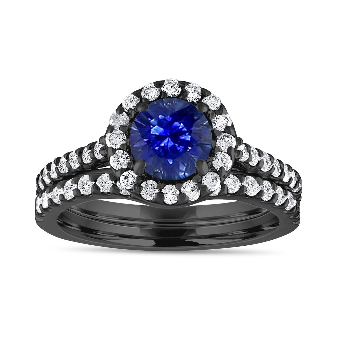 Vintage Shire Engagement Ring Set Diamond Bridal Sets Blue Wedding 1 83 Carat 14k