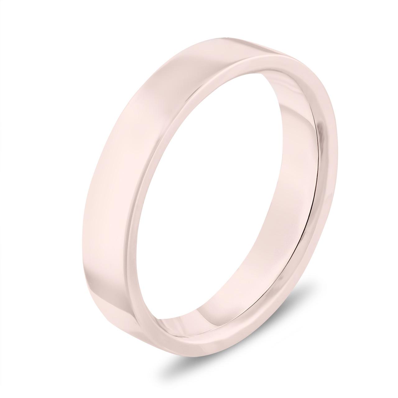 Rose Gold Wedding Band Flat Ring Womens Mens 4 Mm Anniversary