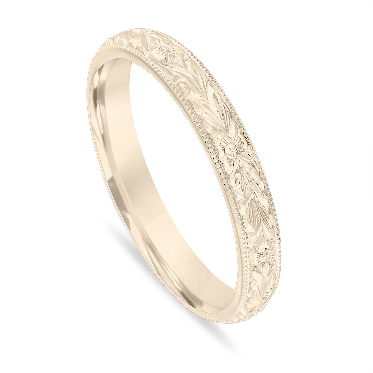 Gold Wedding Band, Hand Engraved Wedding Ring, Vintage