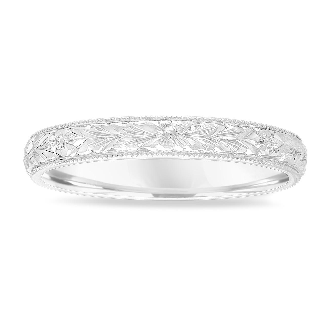Platinum Vintage Wedding Band, Hand Engraved Wedding Ring