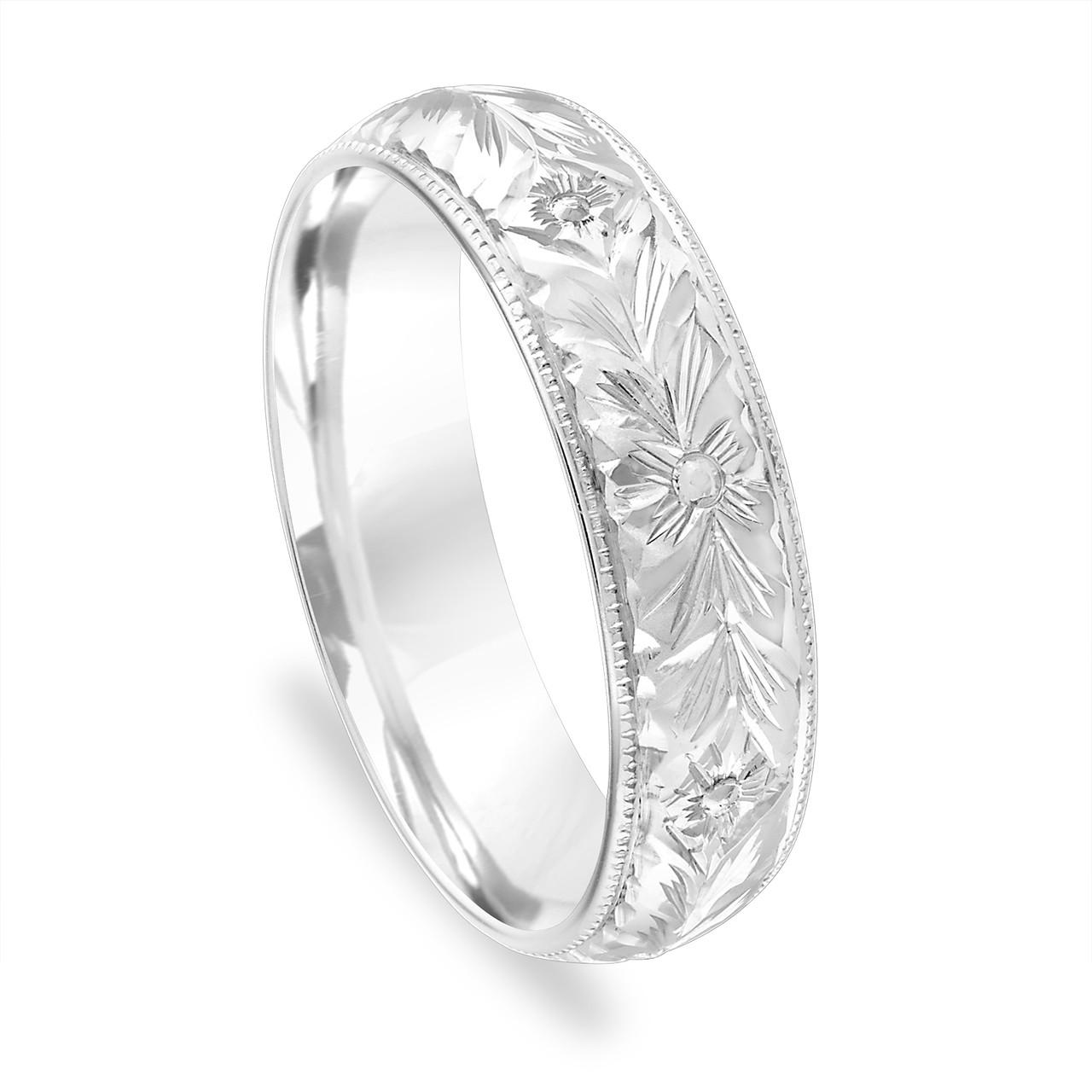Hand Engraved Men's Wedding Band, Vintage Wedding Ring