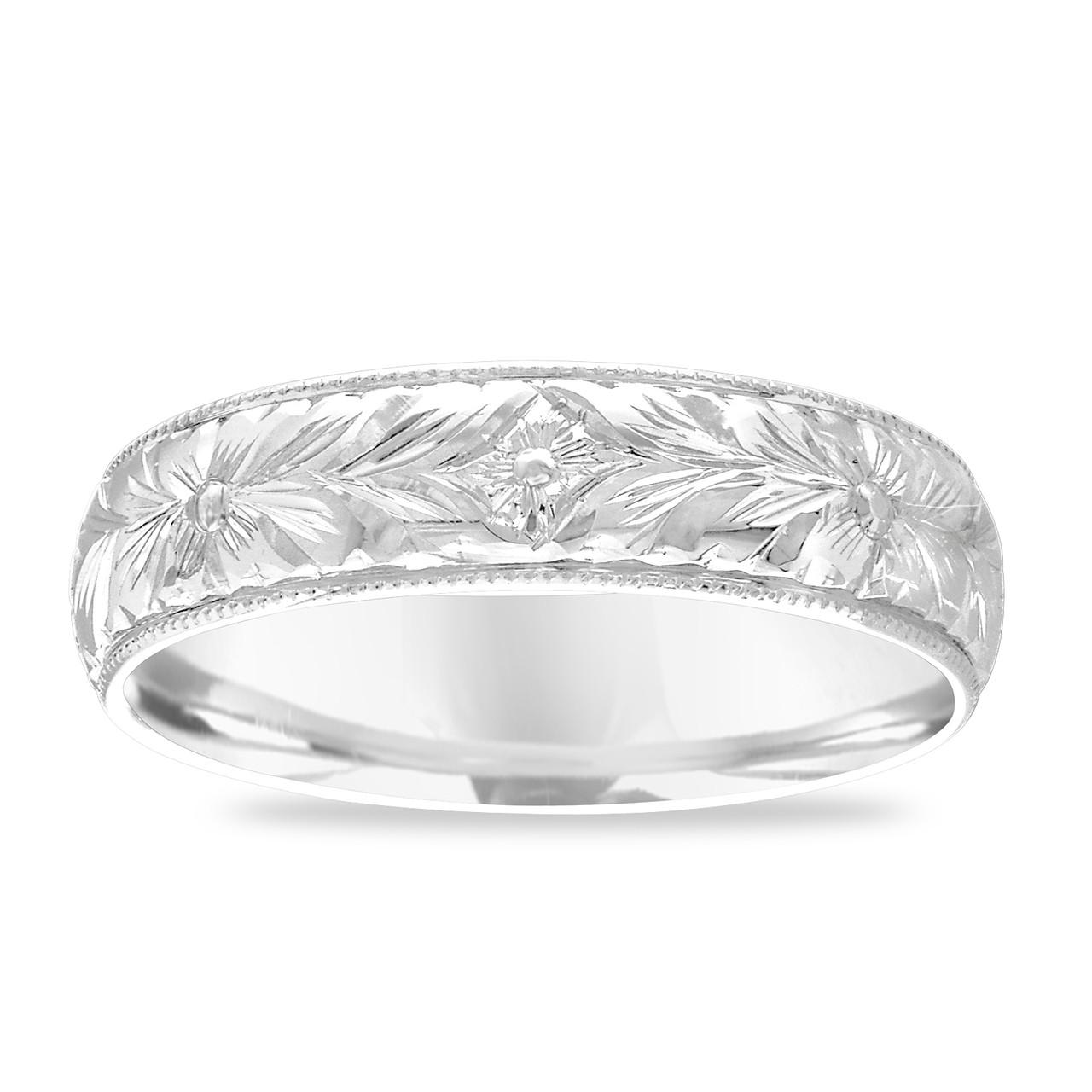 Unique Wedding Bands Platinum: Hand Engraved Men's Wedding Band, Platinum Wedding Ring