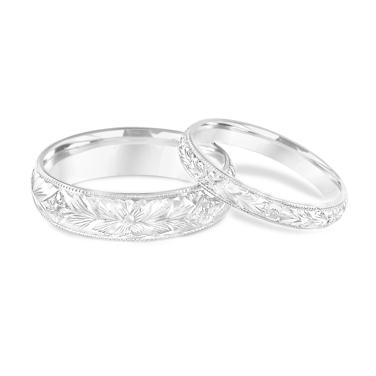 Platinum Matching Wedding Rings His And Hers Bands Hand Engraved Set