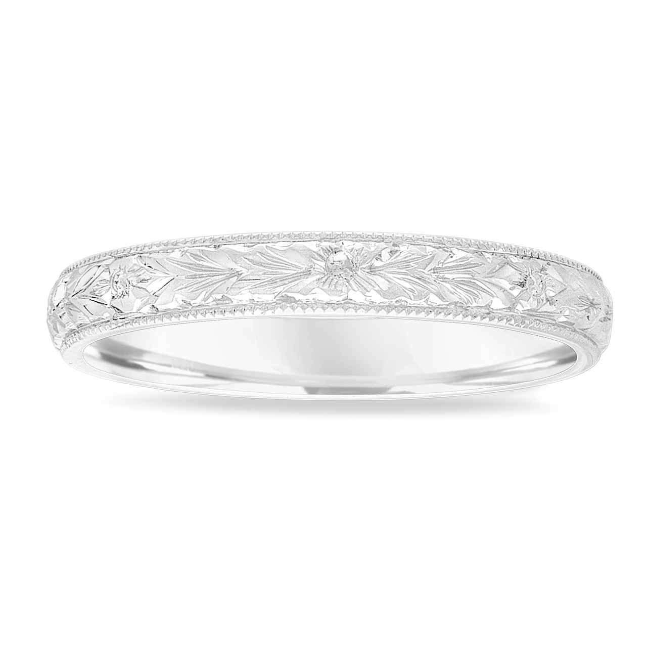 Hand Engraved Wedding Band 18k White Gold Vintage Ring Womens Unique