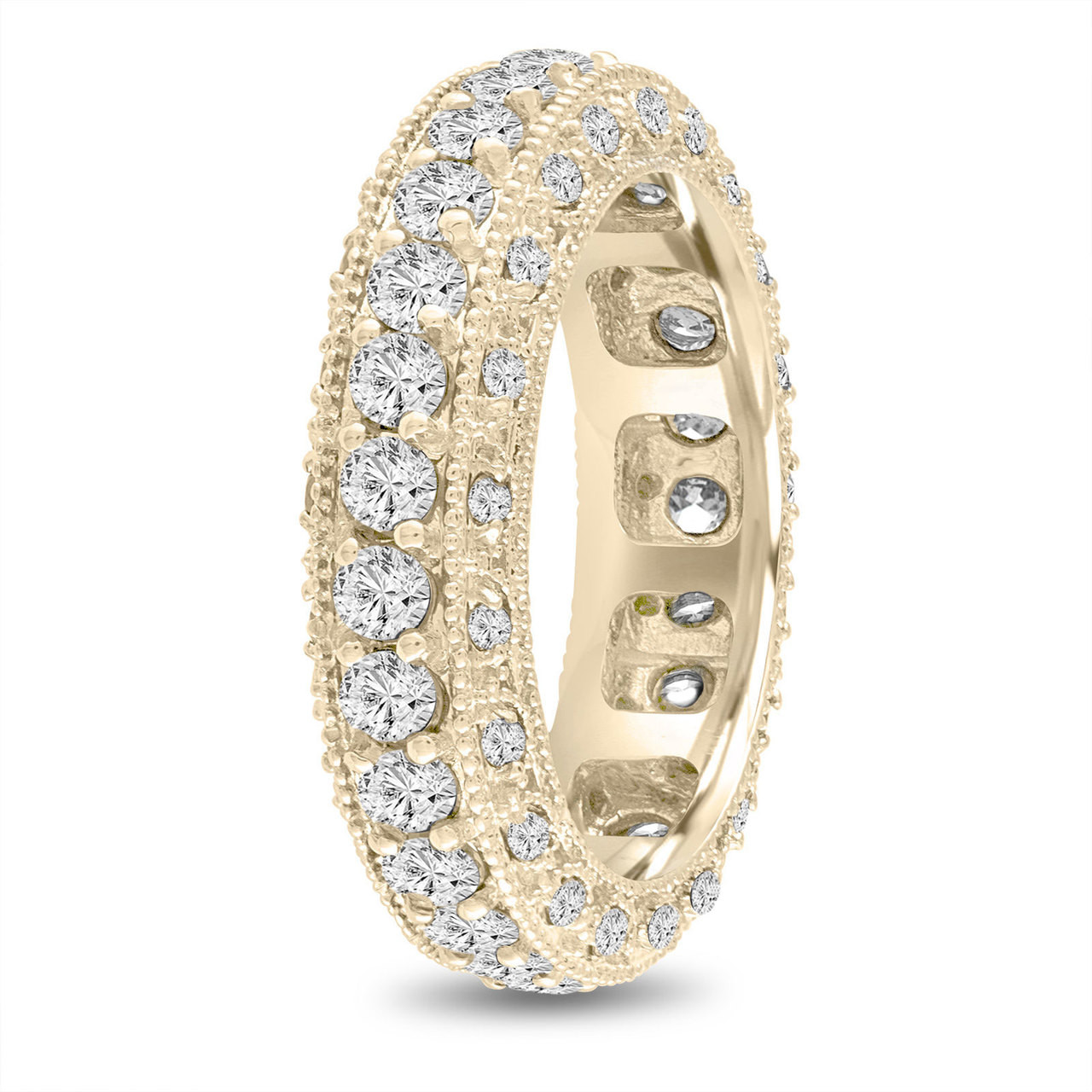 Eternity Diamond Wedding Band Yellow Gold Mens Diamond