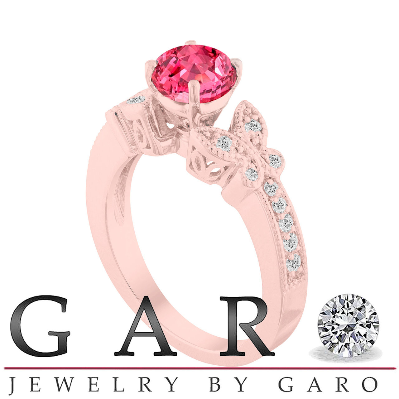 Pink Sapphire Butterfly Engagement Ring, Sapphire Wedding Ring Rose ...