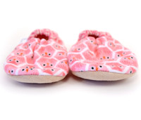 Pink Owl Flannel Bison Booties 6-12 months