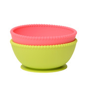 Bright Pink + Chartruse 2 Pack Silicone Suction Bowls Chewbeads CB Eat