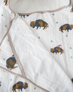 Bison Herd Hooded Towel & Washcloth Set Cotton Muslin