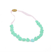 Junior Spring Heart Glow in the Dark Chewbeads Necklace Spearmint Turquoise