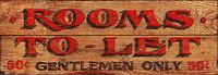 """Gentlemen's Room - Vintage Sign """"Rooms To Let"""""""