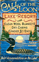 Vintage Sign - Call of The Loon Lake Resort