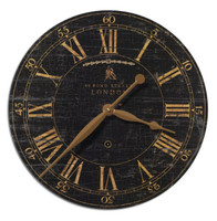 Distressed Antique Wood Clock - Black-18 in.
