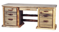Aspen Log Desk - Large 7 Drawer Desk