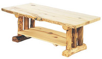 Log Coffee Table - Rustic Aspen Wood, 48 Inches