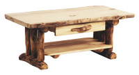 Log Coffee Table with One Drawer, Aspen Wood