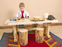 Kids Log Table and Chair Set