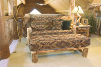 Log Loveseat Futon and Ottoman - Queen Size With Cushion