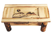 Rustic Log Coffee Table - Carved Mountain Top Without Drawer