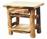 1-Drawer Rustic Log End Table