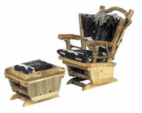 Twig Art Log Rocking Chair and Gliding Ottoman Set