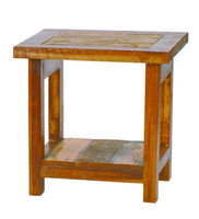 Rustic Reclaimed Wood End Table - Natural Barnwood