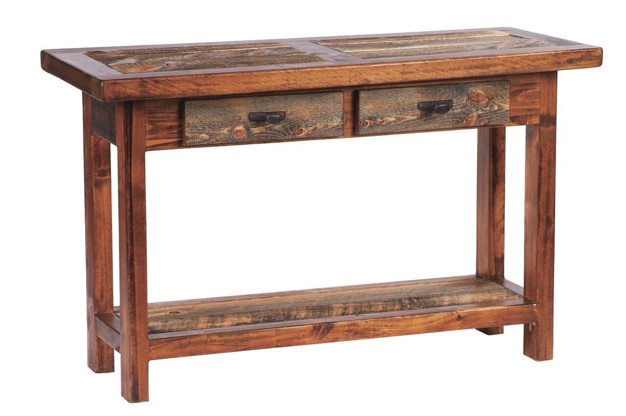 Rustic sofa table reclaimed wood with drawers for 42 sofa table