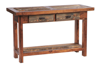 Rustic Sofa Table With Two Drawers