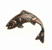 Jumping Trout Cabinet Hardware Knob - Left Facing