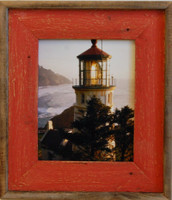 8x8 Barnwood Picture Frame - Lighthouse Red Distressed Wood Frame
