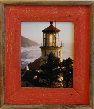 Barnwood Picture Frame with Red Wash, 16x20 Rustic Wood Frame