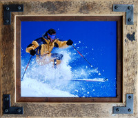 Rustic Frame - 20x30 distressed barn wood frame, metal corner brackets