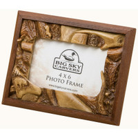 Bear and Antler 4x6 Rustic Photo Frame