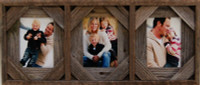Collage Frame with Three 8x10 openings, Barnwood with Cornerblocks