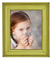 Solid Wood Picture Frame, Pear Green 8x10 with Antique Glaze, Glass and Hardware